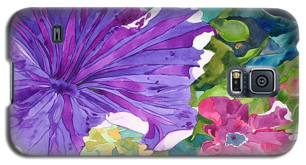 Galaxy S5 Case featuring the painting Popping Petunias by Debi Singer