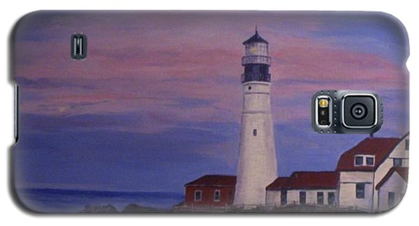 Galaxy S5 Case featuring the painting Portland Head Lighthouse At Dawn by Julie Brugh Riffey