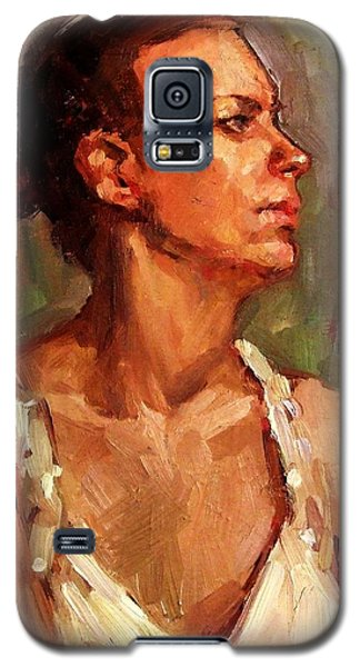 Galaxy S5 Case featuring the painting Portrait Of A Stern And Distanced Hardworking Woman In Light Summer Dress With Deep Shadows Dramatic by M Zimmerman MendyZ