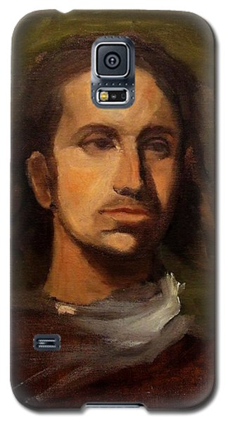 Galaxy S5 Case featuring the painting Portrait Young European Shepard Boy Noble Aristocrat Tired Face Enigmatic Sad Eyes Green Brown by M Zimmerman MendyZ