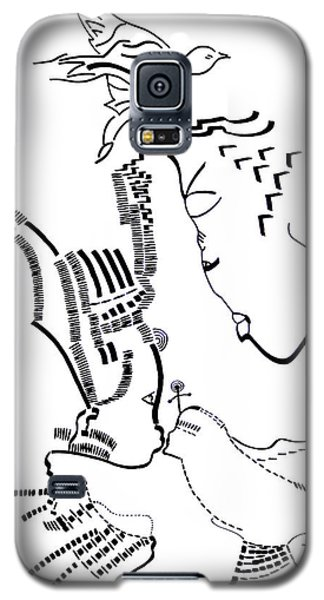 Galaxy S5 Case featuring the drawing Presentation Of Jesus In The Temple by Gloria Ssali