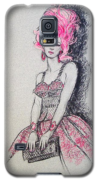 Galaxy S5 Case featuring the drawing Pretty In Pink Hair by Sue Halstenberg