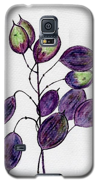 Galaxy S5 Case featuring the drawing Purple Honesty Seed Heads by Barbara Moignard