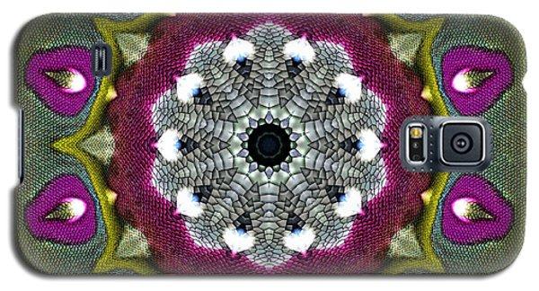 Galaxy S5 Case featuring the digital art Purple Snakeskin Flower by Alec Drake