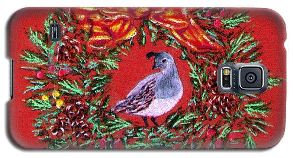 Quail Holiday Greeting Card Galaxy S5 Case by Judy Filarecki