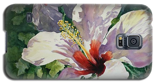 Galaxy S5 Case featuring the painting Radiant Light - Hibiscus by Roxanne Tobaison