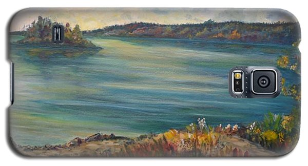 Galaxy S5 Case featuring the painting Rainy Lake Michigan by Julie Brugh Riffey