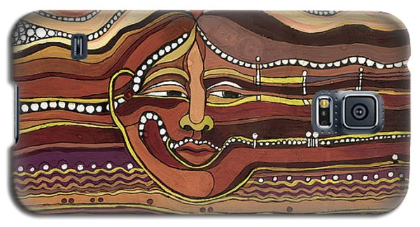 Red Aztec Face In Nature Landscape Abstract Fantasy With Earth Colors Sunset And Skyline Galaxy S5 Case