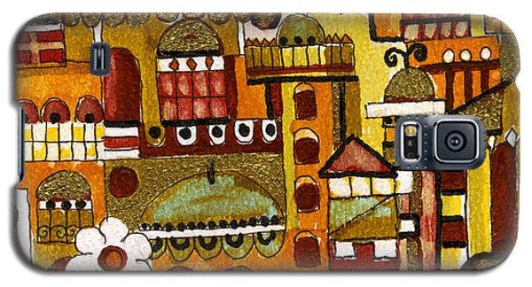 Red Kasba Skyline Landscape Art Of Old Town Dome And Minarett Decorated With Flower Arch In Orange Galaxy S5 Case by Rachel Hershkovitz
