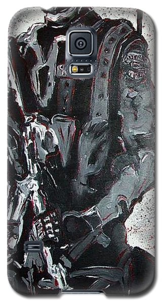 Galaxy S5 Case featuring the painting Red Marble Full Length Figure Portrait Of Swat Team Leader Alpha Chicago Police Full Uniform War Gun by M Zimmerman MendyZ