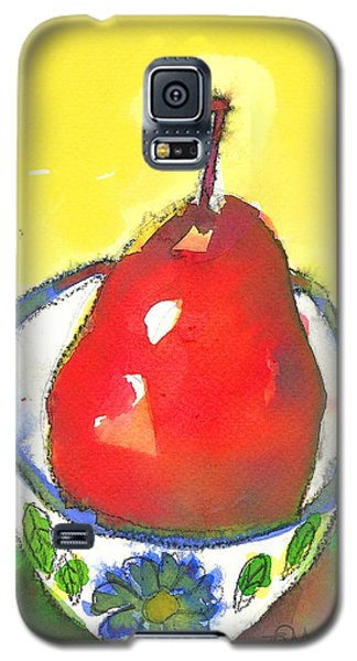 Red Pear In Blue Floral Bowl Galaxy S5 Case