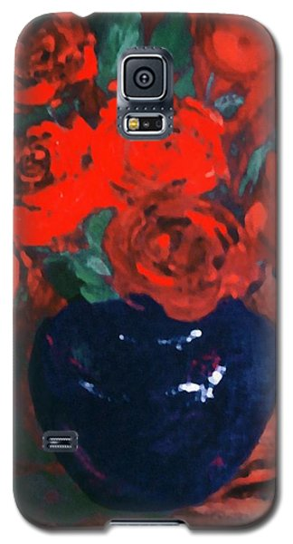 Red Roses Blue Vase Galaxy S5 Case
