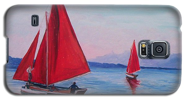 Galaxy S5 Case featuring the painting Red Sails On Irish Coast by Julie Brugh Riffey