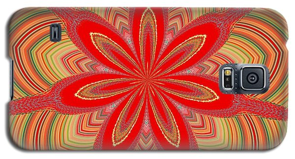 Galaxy S5 Case featuring the digital art Red Star Brocade by Alec Drake