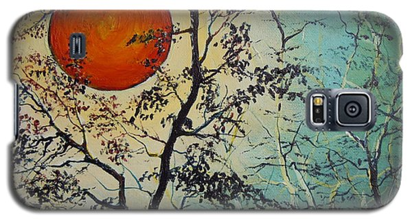 Galaxy S5 Case featuring the painting Red Sun A Red Moon by Dan Whittemore