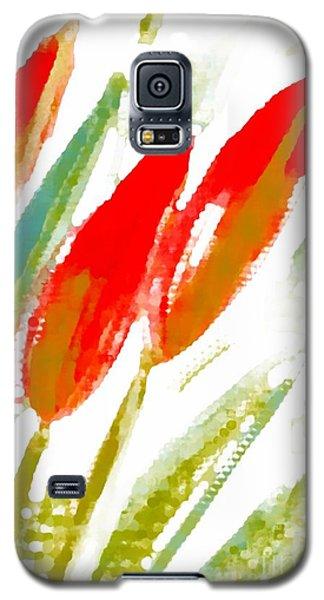 Galaxy S5 Case featuring the digital art Red Tulips by Barbara Moignard
