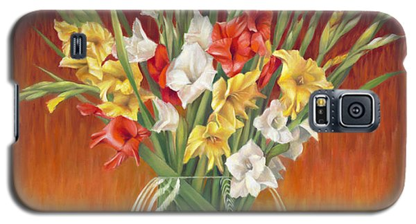 Galaxy S5 Case featuring the painting Red White And Yellow Gladiolus by Nancy Tilles