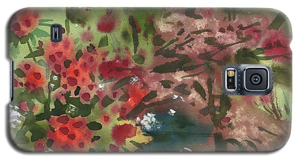 Galaxy S5 Case featuring the painting Rhododendron And Red Maple by Donald Maier