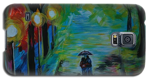 Galaxy S5 Case featuring the painting Romantic Stroll Series 1 by Leslie Allen