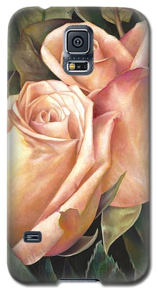 Galaxy S5 Case featuring the painting Rosey Embrace by Nancy Tilles