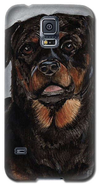 Galaxy S5 Case featuring the painting Rottweiler  by Nancy Patterson