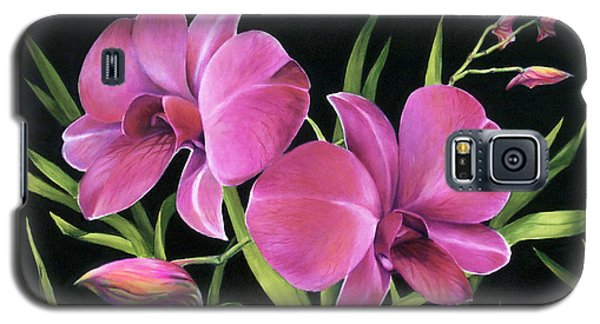 Galaxy S5 Case featuring the painting Royal Pink Orchids by Nancy Tilles