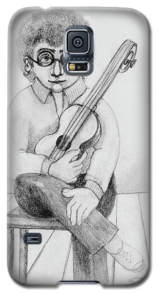 Russian Guitarist Black And White Art Eyeglasses Long Curly Hair Tie Chin Shirt Trousers Shoes Chair Galaxy S5 Case by Rachel Hershkovitz