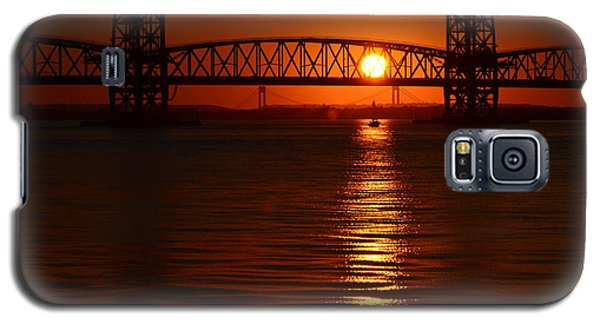 Galaxy S5 Case featuring the photograph Sailboat Bridges Sunset by Maureen E Ritter