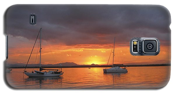 Galaxy S5 Case featuring the digital art Sailboats At Anchor by Anne Mott