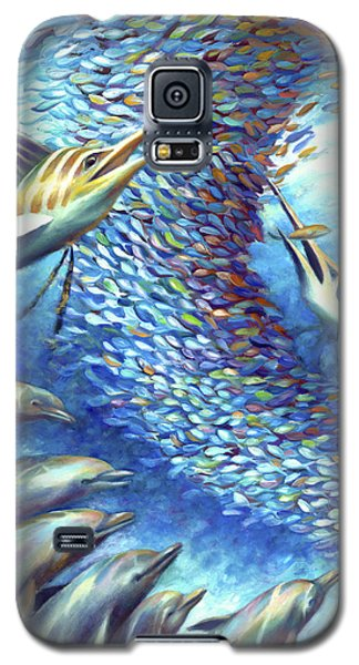 Galaxy S5 Case featuring the painting Sailfish Plunders Baitball I - Marlin And Dolphin by Nancy Tilles