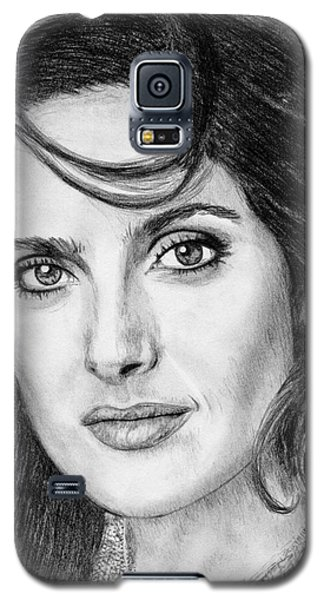 Galaxy S5 Case featuring the drawing Salma Hayek In 2005 by J McCombie