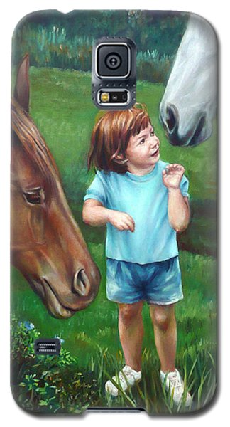 Galaxy S5 Case featuring the painting Samantha Becomes An Equestrian by Nancy Tilles