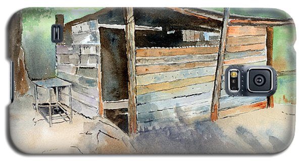 Galaxy S5 Case featuring the painting School Cooking Shack - South Africa by Arline Wagner