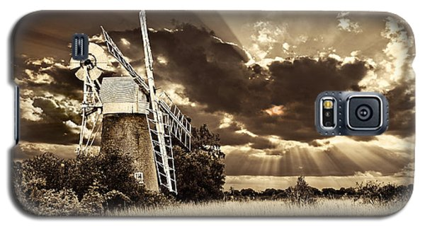 Galaxy S5 Case featuring the photograph Sepia Sky Windmill by Meirion Matthias