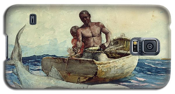 Shark Fishing Galaxy S5 Case by Winslow Homer