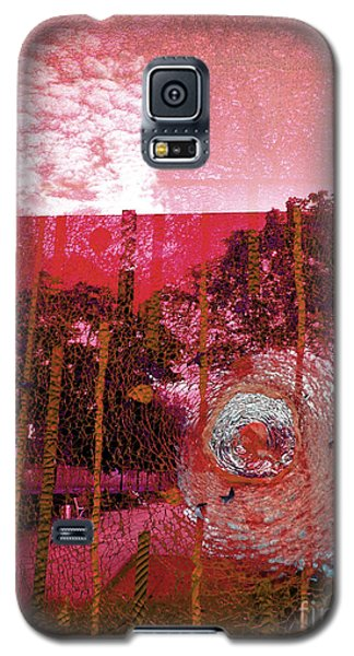 Galaxy S5 Case featuring the photograph Abstract Shattered Glass Red by Andy Prendy