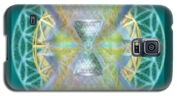 Galaxy S5 Case featuring the digital art Silver Torquoise Chalice Matrix Subtly Lavender Lit On Gold N Blue N Green With Teal by Christopher Pringer