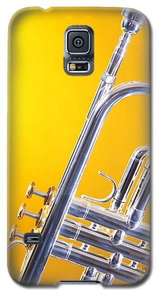 Silver Trumpet Isolated On Yellow Galaxy S5 Case by M K  Miller