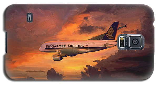 Galaxy S5 Case featuring the painting Singapore Airlines A380 by Nop Briex