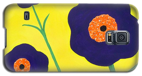 Galaxy S5 Case featuring the painting Sky High Flowers by Alys Caviness-Gober