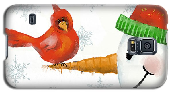 Galaxy S5 Case featuring the digital art Snowman And The Cardinal by Arline Wagner