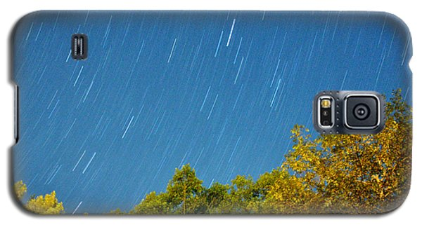 Galaxy S5 Case featuring the photograph Star Trails On A Blue Sky by Kay Lovingood
