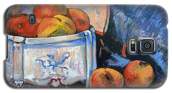 Galaxy S5 Case featuring the painting Still Life Peaches by Tom Roderick