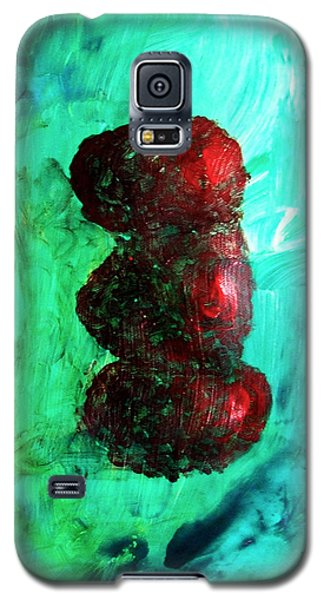 Galaxy S5 Case featuring the painting Still Life Red Apples Stacked On Green Table And Wall Fruit Is About To Topple Smush Impressionistic by M Zimmerman MendyZ