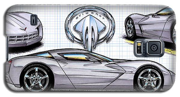 Galaxy S5 Case featuring the drawing 2010 Stingray Concept Corvette by K Scott Teeters