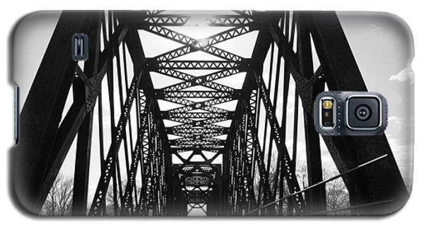 Galaxy S5 Case featuring the photograph Sunlight Through The Peshtigo Train Bridge by Mark J Seefeldt