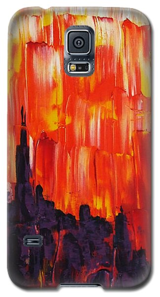 Galaxy S5 Case featuring the painting Sunset Of Melting Waterfall Behind Chicago Skyline Or Storm Reflecting Architecture And Buildings by M Zimmerman MendyZ