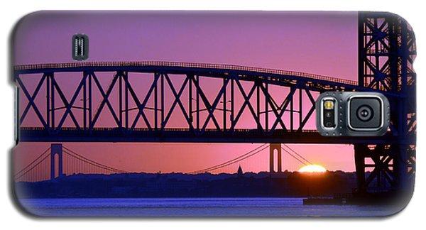 Galaxy S5 Case featuring the photograph Sunset Verrazano Under Marine Park Bridge by Maureen E Ritter