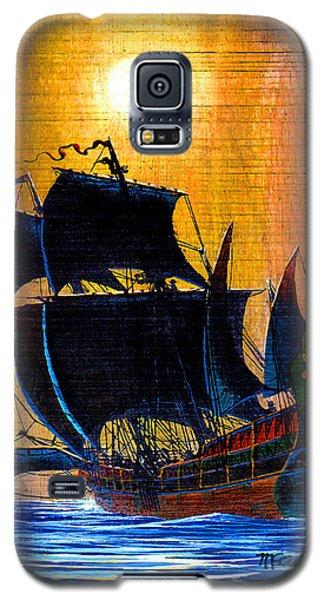 Sunship Galleon On Wood Galaxy S5 Case