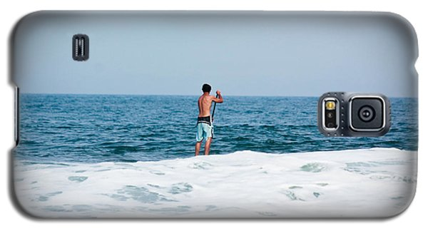 Galaxy S5 Case featuring the photograph Surfer Waiting For Next Wave by Ann Murphy